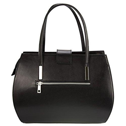 Olivia Noir femme Cuir 35x27x14 Sac mode cm cuir Sac MILANO à main Noir 7ax7Bw