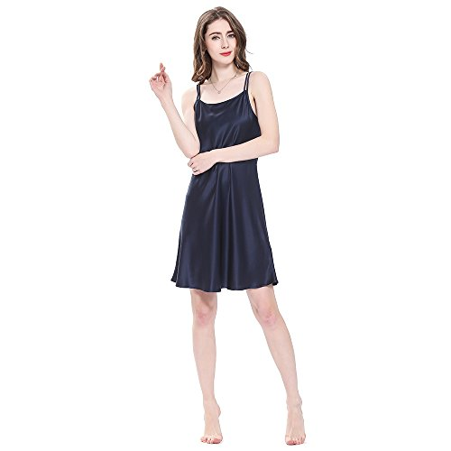 - LilySilk Real Silk Nightgowns for Women Charmeuse 100 Real 16 Momme Silk Short Sexy Chemise Ladies Lingerie Petite Navy Blue M/8-10