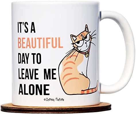 Funny Mug Bundle with Silicone Lid and Coaster Set - It's a Beautiful Day to Leave Me Alone - 11 Ounce Cat Mug for any Special or Pawesome Occasions. Purrfect for Friends, Family and Coworkers.