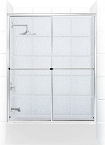 Coastal Shower Doors Challenger Series Sliding Tub Door With Towel Bar In Obscure Glass, 60