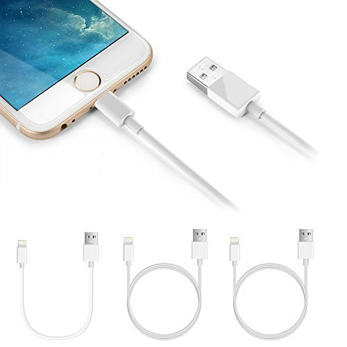 Lightning Cables, 3 Pack iPhone Charger Cables - MixcTech 3 in 1 [2x3ft Cables 1x1ft Cable] Apple Charging Powerline for iPhone 7/7Plus 6s/6s Plus 6/6 Plus iPad mini/Air/Pro iPod touch 5 (Minis Ipod)