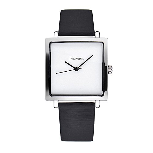Everyone Womens Square Quartz Watches (Black White) Black Leather Square Watch