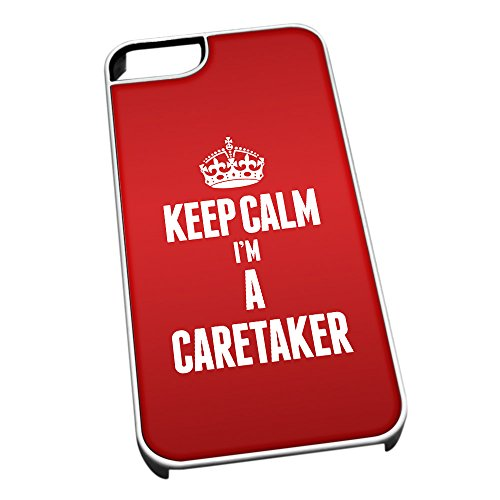 Bianco cover per iPhone 5/5S 2544 Red Keep Calm I m A Caretaker