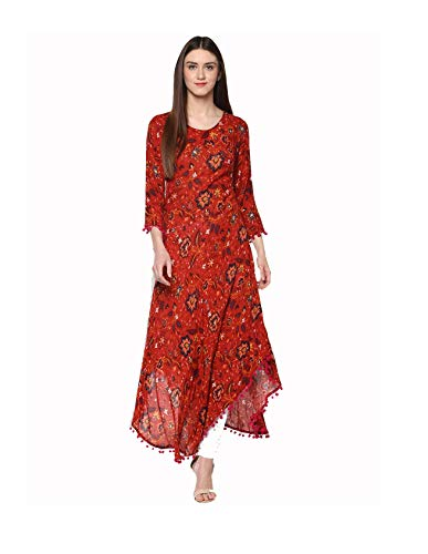 Women Rust Printed Anarkali Kurta By Dream Angel Fashion (Small-34)