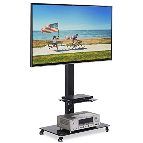 - Rolling Moblile TV Stand Cart with Audio Shelf and Wheels, for 32 37 42 46 50 55 60 65 inch LCD LED OLED QLED Flat Panel and Curved TVs