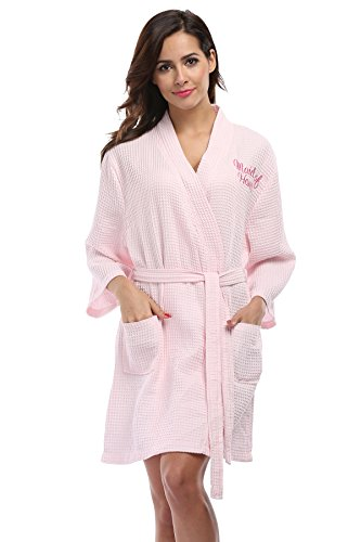 (Vogue Bridal Waffle Weave Kimono Robe with Embroidered Bathrobe for Maid of Honor, Pink)
