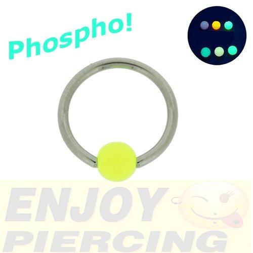Piercing Anneau Phosphorescent Phospho 1,2x10mm Jaune