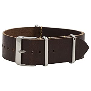 Benchmark Basics 18mm, 20mm & 22mm Vegetable Tanned Leather NATO Watchband (Multiple Colors)
