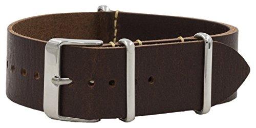 - Benchmark Basics 22mm Dark Brown Vegetable Tanned Leather NATO Watchband (Multiple Colors)