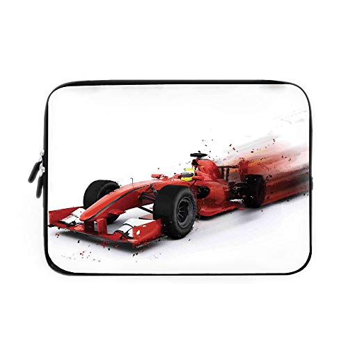 Cars Laptop Sleeve Bag,Neoprene Sleeve Case/Generic Formula 1 Racing Car Illustration with Special Effect Turbo Motion Auto Print/for Apple MacBook Air Samsung Google Acer HP DELL Lenovo Asus