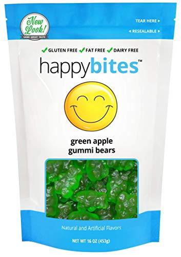 Happy Bites Green Apple Gummi Bears - Gluten Free, Fat Free, Dairy Free - Resealable Pouch (1 Pound) -