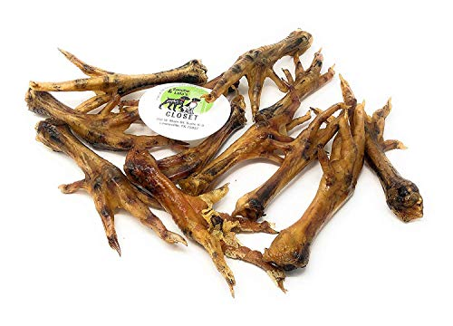 Sancho & Lolas Dehydrated Organic Smoked Chicken Feet for Dogs (12-Count) - Smoked in Real Texas Pecan Wood in a Human-Grade Commercial Kitchen/Natural Source of Collagen, Glucosamine & Chondroitin