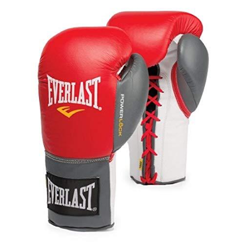 Everlast 2200156 Powerlock Training Gloves (Laced) Red/Grey 14oz