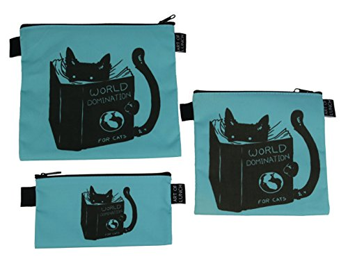 Reusable Sandwich & Snack Baggies by ART OF LUNCH - Set of 3 Designer Sandwich Bags, Art Supply Bags, Makeup Bags. Design by Tobe Fonseca (Brazil) - World Domination