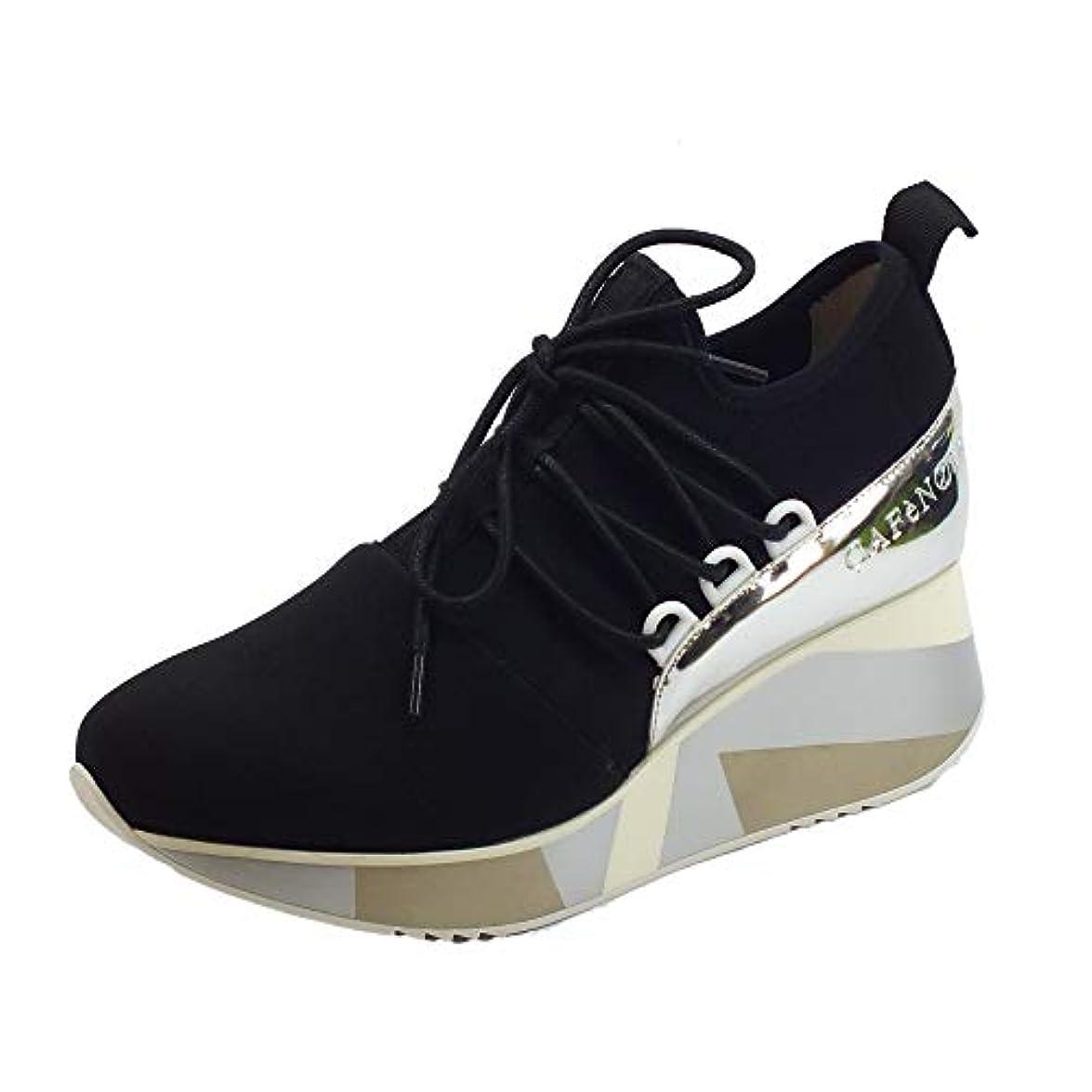 Cafènoir Sneakers Per Donna In Elasticizzato Nero Zeppa Alta