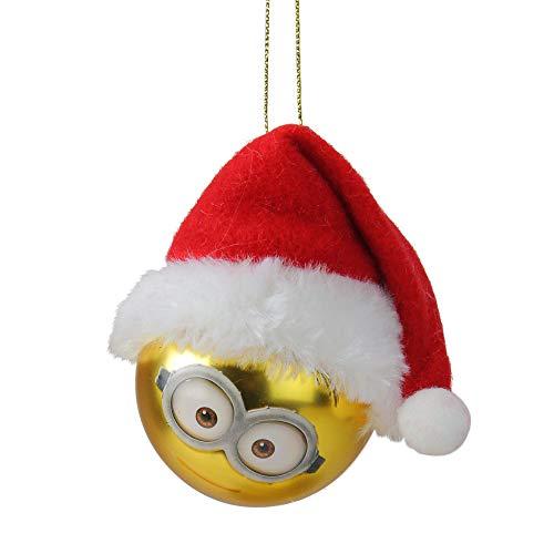 - Kurt Adler Despicable Me Minion Stuart with Santa Hat Gold Glass Christmas Ball Ornament 2.5