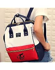 CherriGumi Pretty Kpop Twice Canvas Backpack Student Schoolbag Mummy Bag Hasp Shoulder Handbag Teenager Zipper Backpack Women Travel Rucksack Girl Boy Book Bag in fine Style