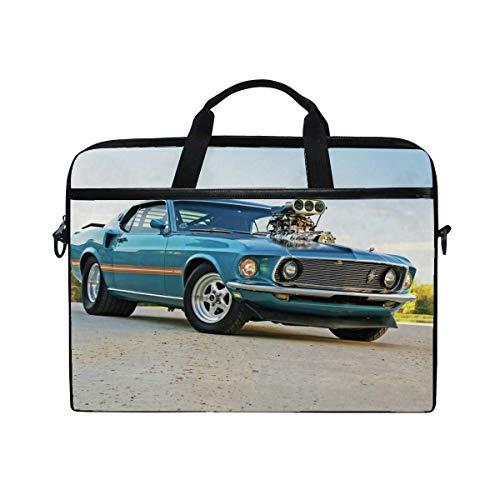 1969 Ford Pro Street Mustang Laptop Shoulder Messenger Bag Case Sleeve for 14 Inch to 15.6 Inch with Adjustable Notebook Shoulder Strap