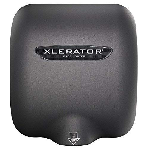 Excel Dryer XLERATOR XL-GR 1.1N High Speed Automatic Hand Dryer, Graphite Textured Cast Cover, Heat and Speed Control Options with Noise Reduction Nozzle, 110/120V 12.5 Amps (2 Pack)