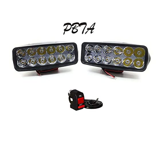 12 LED LENS Fog Light With Switch for Bikes and Cars High Power, Heavy clamp and Strong ABS Plastic - Set Of 2