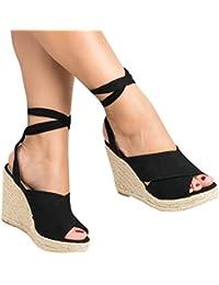 Womens Espadrilles Tie Up Peep Toe Wedge High Heel Platform Sandals Summer Shoes