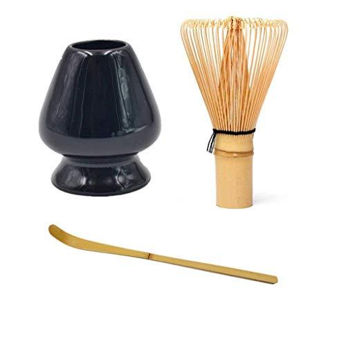 - Matcha Green Tea Whisk Set Bamboo Whisk + Bamboo Scoop + Ceramic Whisk Holder for for Traditional Japanese Tea Ceremony (Black)