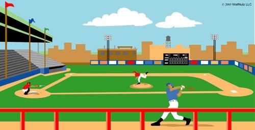 Wallnutz Murals Baseball Stadium Wall Mural Kit