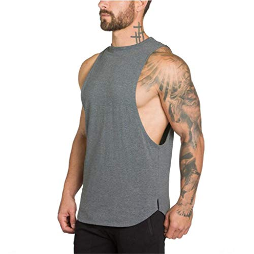 Mens Gym Loose Tank Top, MmNote Cotton Muscle Fitness Workout Bodybuilding Outdoor Sports Muscle Racerback Vest Dark Gray