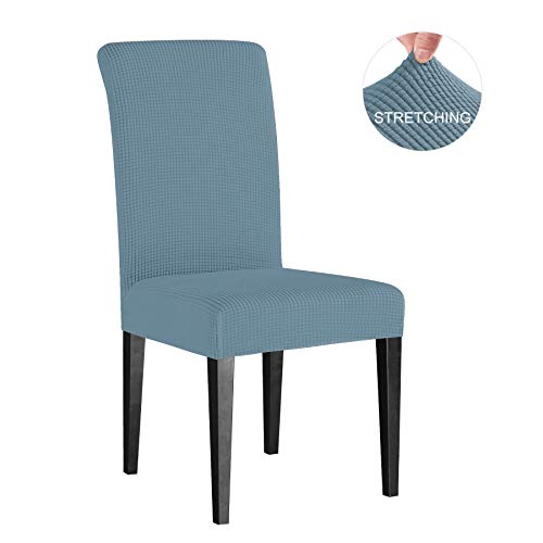 - Subrtex Dining Room Chair Slipcovers Sets Stretch Furniture Protector Covers for Armchair Removable Washable Elastic Parsons Seat Case for Restaurant Hotel Ceremony (4 Pieces, Steel Blue Checks)