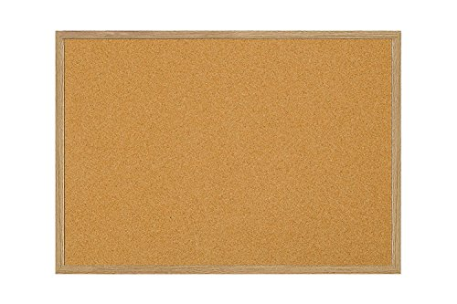 MasterVision Bulletin Board, Cork Board, Pin Board with Oak Frame, 36