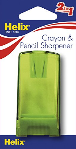 Helix Pencil & Crayon Canister Sharpener, Assorted Colors (One Crayon Sharpener)