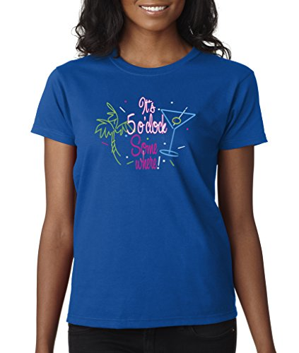 Somewhere Martini T-shirt (It's Five O'Clock Somewhere Neon Martini Colors Ladies T-Shirt S-2XL - Royal - 2XL)