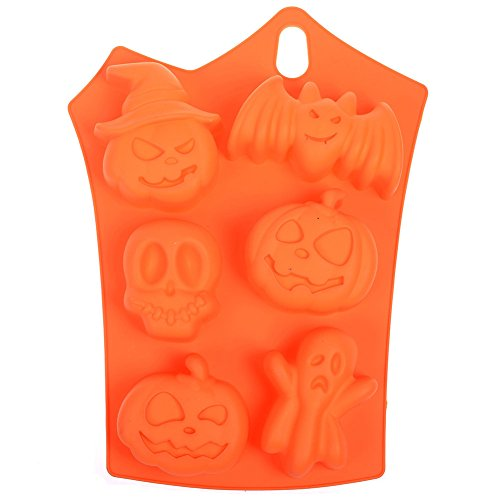 (6MILES 6 Cavity Halloween Party Bat Pumpkin Face Skull Ghost Shaped Fondant Cake Pudding Chocolate Jelly Ice Cube Tray Soap Silicone DIY Mold Heat Resistant Horrific Funny)