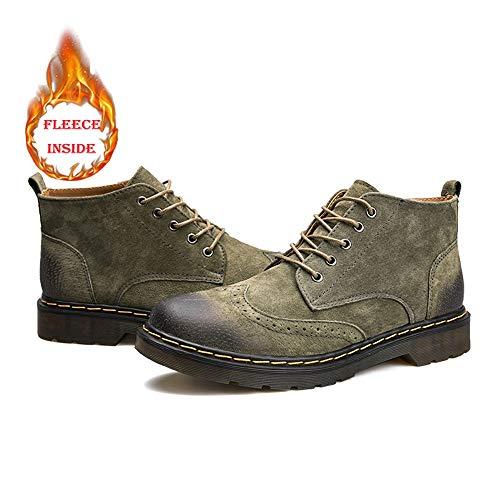 Bottes Style Hommes Bottines Haut Chaussures Brogues Laçage Confortable Warm De Chukka Army Rétro Casual Pour Green Hilotu Oxfords R0CwqxOEx