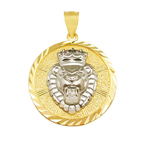 AMZ Jewelry 10K Yellow Gold Lion Crown Head Charm Pendant ()
