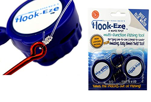 HOOK-EZE HookEze Fishing Gear Knot Tying Tool Large Saltwater Hooks | Line Cutter cuts Braid and Leader | Cover Hooks on Fishing Poles Travel Safely Fully Rigged ()