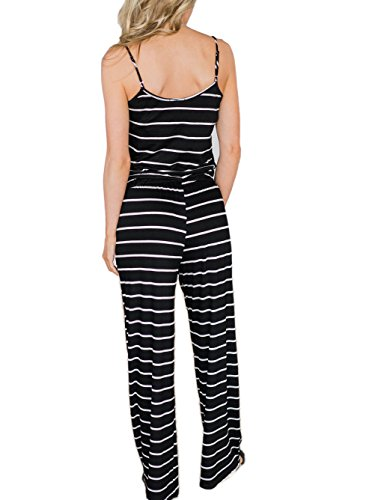 55a642dbc0e0 Famulily Women s Comfy Striped One Piece Jumpsuit Loose Sleeveless Wide Leg  Long Pants Romper(L
