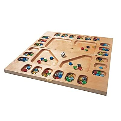 Square Root Games 0021 Four-Player Mancala in Natural Finish Solid Hardwood: Toys & Games