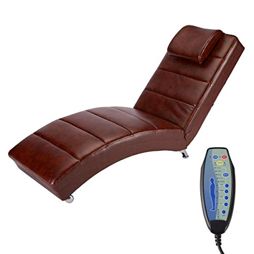 Mellcom Electric Massage Recliner Chair Chaise Longue Heated PU Leather Ergonomic Lounge Massage Recliner with Wide Use Pillow,Vibrating Massage,Heating,Remote Control,Side Pocket,Chocolate