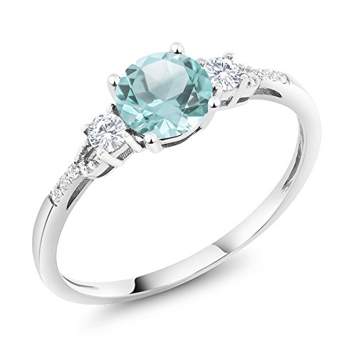 Gem Stone King 10K White Gold Diamond Accent 3-stone Engagement Ring set with Sky Blue Topaz White Created Sapphire 1.05 cttw (Size 7)