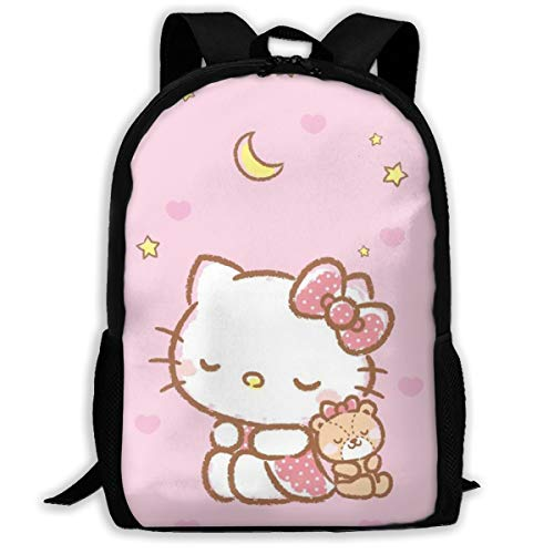 MPJTJGWZ Casual Backpack Sleeping Hello Kitty Print Zipper School Bag Travel Daypack Backpack]()