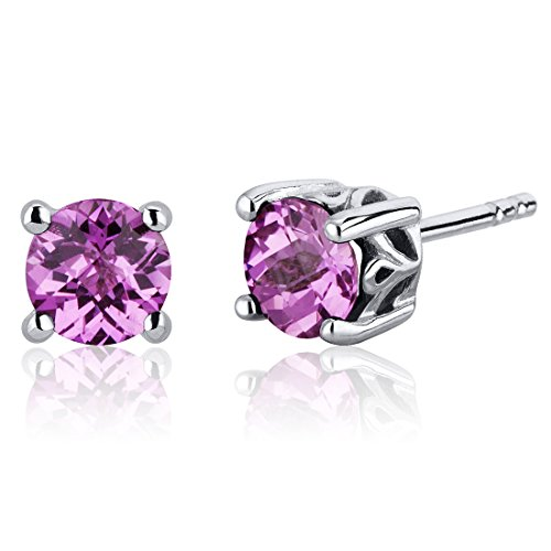 - Created Pink Sapphire Stud Earrings Sterling Silver Scroll Design 2.00 Carats