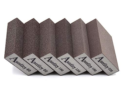 Sanding Sponge, Auerllcy 6 Pieces 60/80/100/120/180/220 Grit Sanding Blocks Assortment, Coarse/Medium/Fine. Washable and Reusable. (6 PCS)