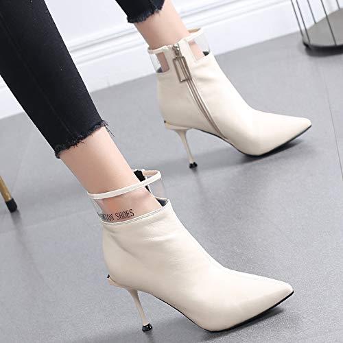 HRCxue Pumps Schuhe Frauen und Kurze transparente Stiefel aus Samt mit kurzem Schlauch und Spitze Martin-Stiefel mit hohem Absatz und hohem Absatz