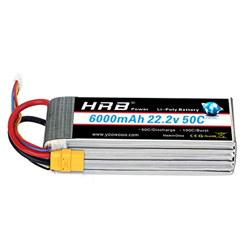 - HRB 6S 6000mAh 22.2V Lipo Battery 50C-100C XT90 Plug for RC DJI Airplane Quadcopter Helicopter Align 7.2 700L Yak 54 T-REX