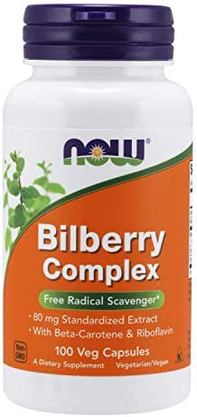 NOW Supplements, Bilberry Vaccinium myrtillus Complex 80 mg with Beta-Carotene Riboflavin, 100 Veg Capsules