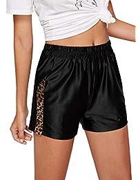 WDIRARA Pantalones Cortos de Verano con Cintura elástica, Informales, cómodos, con Cierre, Detalles de Piel sintética