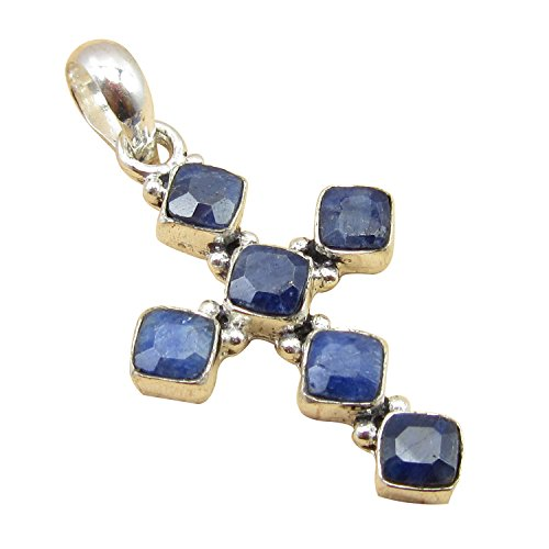 23 Color CROSS Pendant ! Antique Style Handwork Jewelry ! 925 Sterling Silver Plated Birthday (Antique Sapphire Cross)