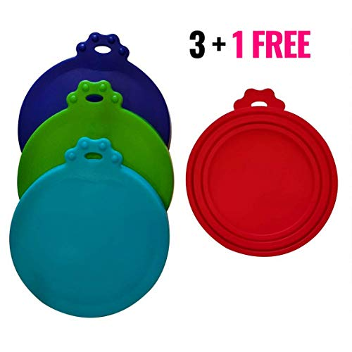 1 Free Cover - EcoLeo Pet Food Can Covers | 3 + 1 Free | Universal Food-Grade Silicone Lid Covers | One Size Fits All Standard Size Dog and Cat Can Tops (Earth)