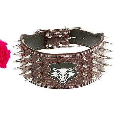 Quick shopping Pet's Wolf Head Domineering Spike PU Leather Big Dog's Collar(Random colorL 665